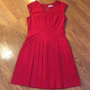 Red Calvin Klein Pleated Dress Size 10